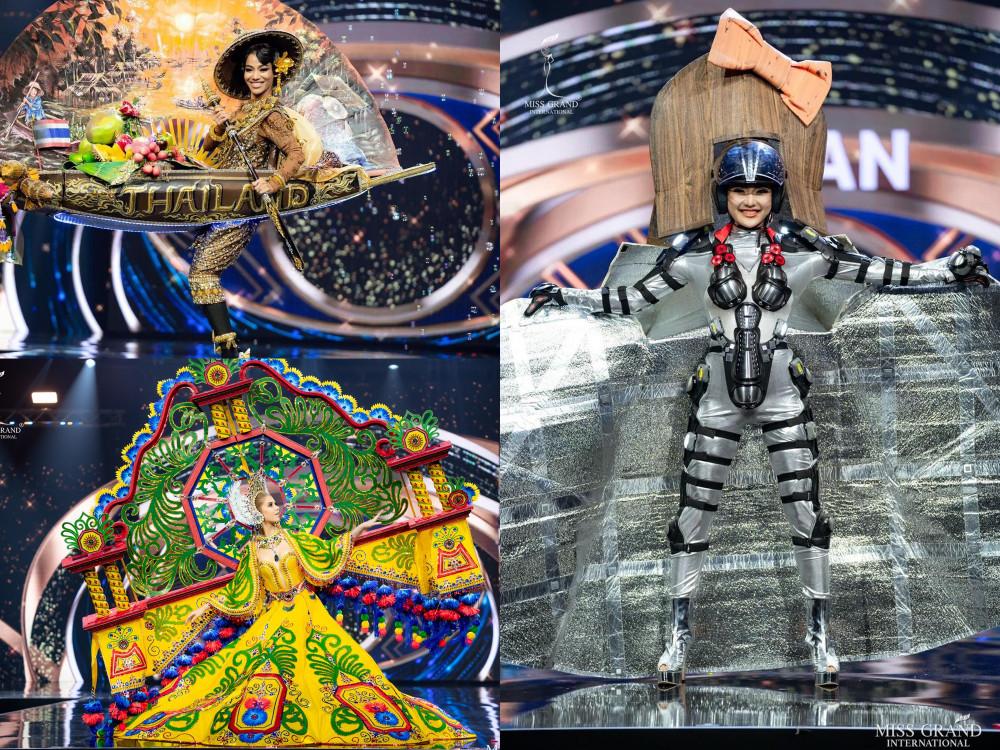 3 trang phục đạt giải trang phục truyền thống đẹp nhất: Thái Lan (bên trái phía trên), và Guatemala (bên trái phía dưới) và Nhật Bản
