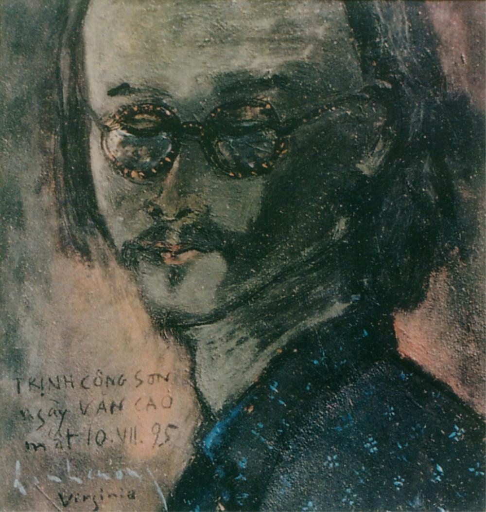 Chân dung Trịnh của họa sĩ Đinh Cường. Ảnh do gia đình cố họa sĩ Đinh Cường cung cấp