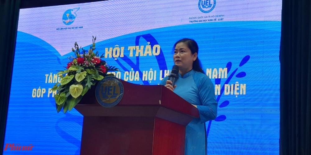 Phó Chủ tịch Hội LHPN Việt Nam Đỗ Thị Thu Thảo phát biểu tại hội thảo