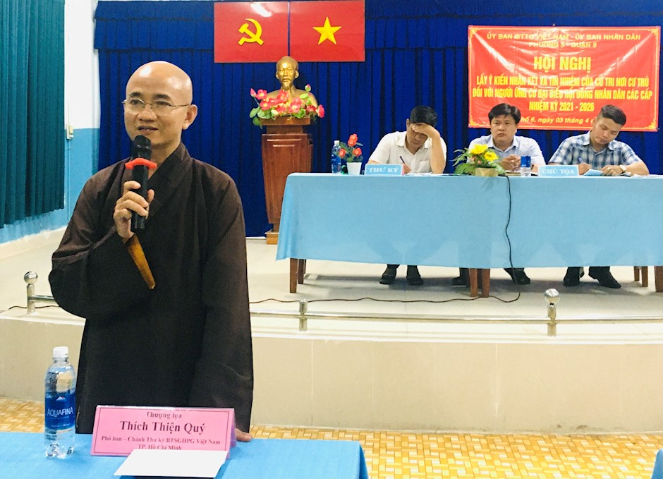 Thượng tọa Thích Thiện Quý nhận được tín nhiệm cao của cử tri giới thiệu ứng cử đại biểu HĐND TPHCM. (Ảnh: Long Hồ)