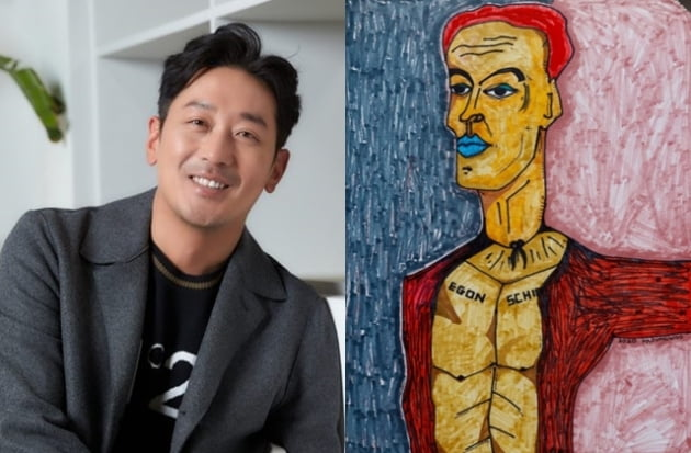 """Nam diễn viên Ha Jung-woo, trái, và một trong những tác phẩm nghệ thuật của anh ấy được trưng bày tại triển lãm """"Ở nhà"""""""