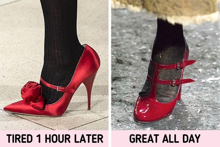 2. Giày cao gót và mũi nhọn: