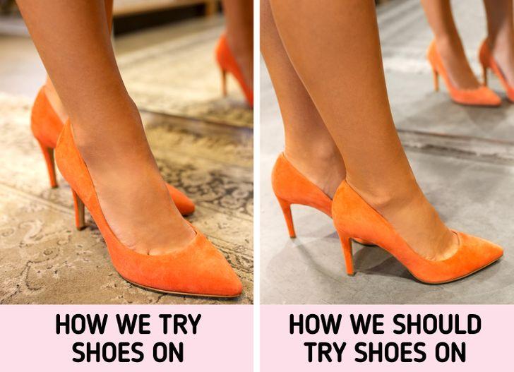 5. Chỉ thử giày trên thảm