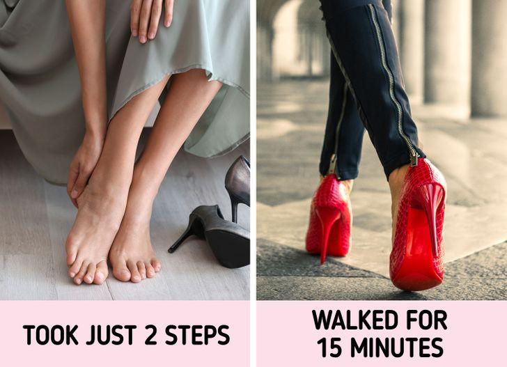 6. Khi thử giày không đi bộ đủ lâu: