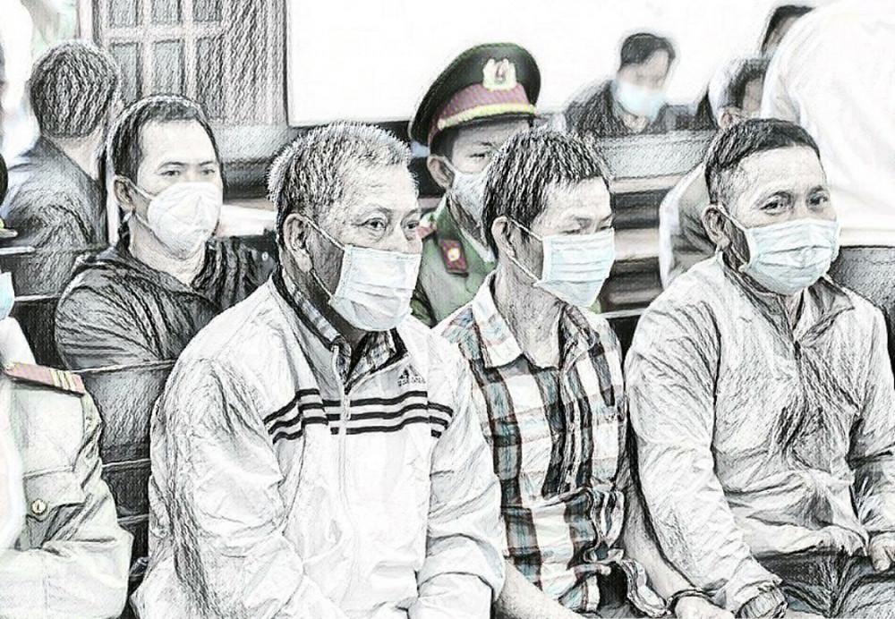 Trịnh Sướng và đồng bọn tại phiên tòa vào ngày 12/1