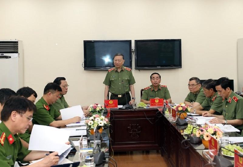 Bộ trưởng Tô Lâm phát biểu tại buổi làm việc - Ảnh: Bộ Công an