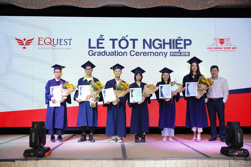 Doanh nghiệp trao học bổng cho các tân khoa nhóm ngành thiết kế. Ảnh: CĐ Việt Mỹ
