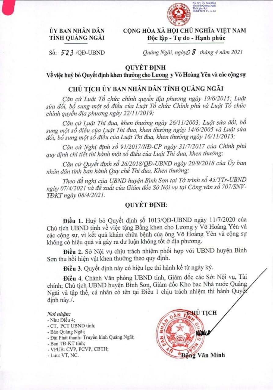 Quyết định hủy bỏ khen thưởng đối với ông Võ Hoàng Yên và các cộng sự