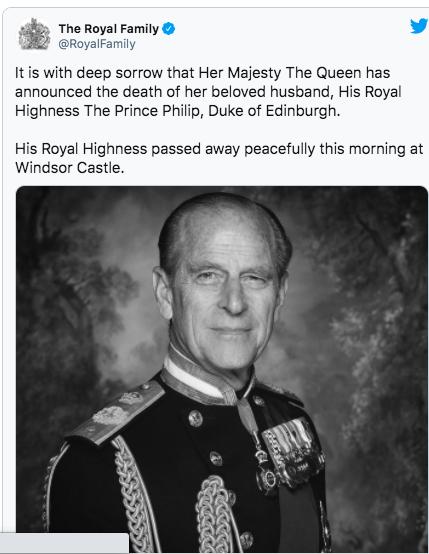 Đây là nỗi buồn vô tận khi Nữ hoàng phải thông báo về sự ra đi của người chồng thương yêu, Hoàng thân Philip, Công tước xứ Edinburgh. Hoàng thân đã ra đi thanh thản sáng nay tại lâu đài Windsor, Điện Buckingham hôm nay ra thông báo.