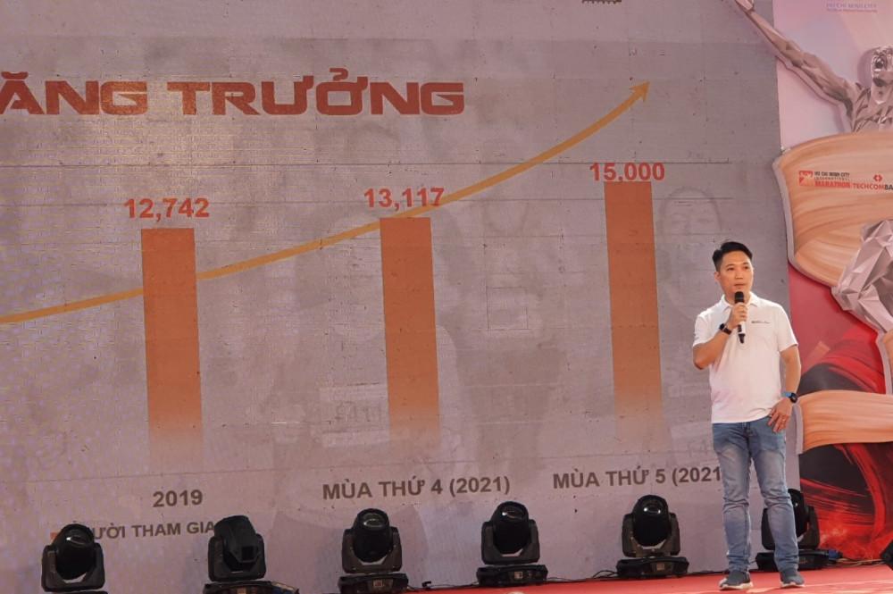 'Với mức tăng trưởng như hiện nay, chúng tôi kỳ vọng năm 2023, giải Marathon Quốc tế TPHCM sẽ đạt chuẩn đồng quốc tế, ông Lê Trương Hiền Hòa - Giám đốc Trung tâm Xúc tiến du lịch TPHCM -phát biểu - Ảnh: Huỳnh Hằng