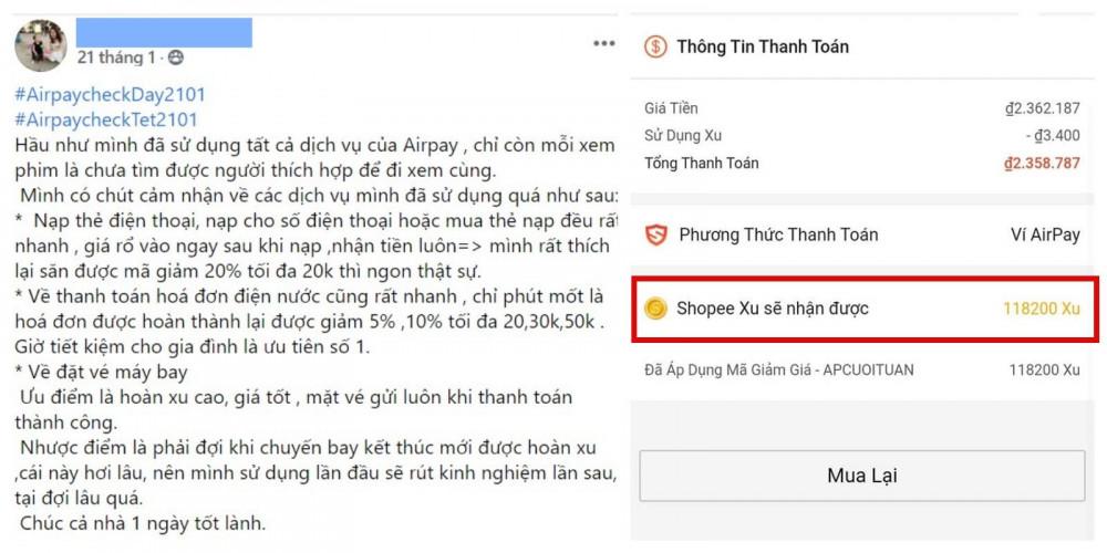Người dùng hào hứng chia sẻ thành quả mua vé máy bay được hoàn xu nhờ thanh toán bằng ví điện tử AirPay