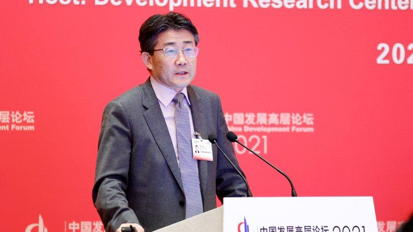 Ông Gao Fu, Giám đốc Trung tâm Kiểm soát và Phòng ngừa Dịch bệnh Trung Quốc, phát biểu trong một hội nghị ở Bắc Kinh tháng 3/2021 - Ảnh: AP/Getty Images