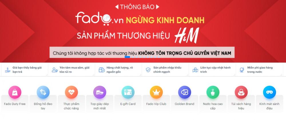 Thông báo của sàn thương mại điện tử fado.vn về việc ngưng hợp tác với H&M