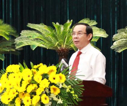 Bí thư Thành ủy TPHCM Nguyễn Văn Nên phát biểu tại Hội nghị,