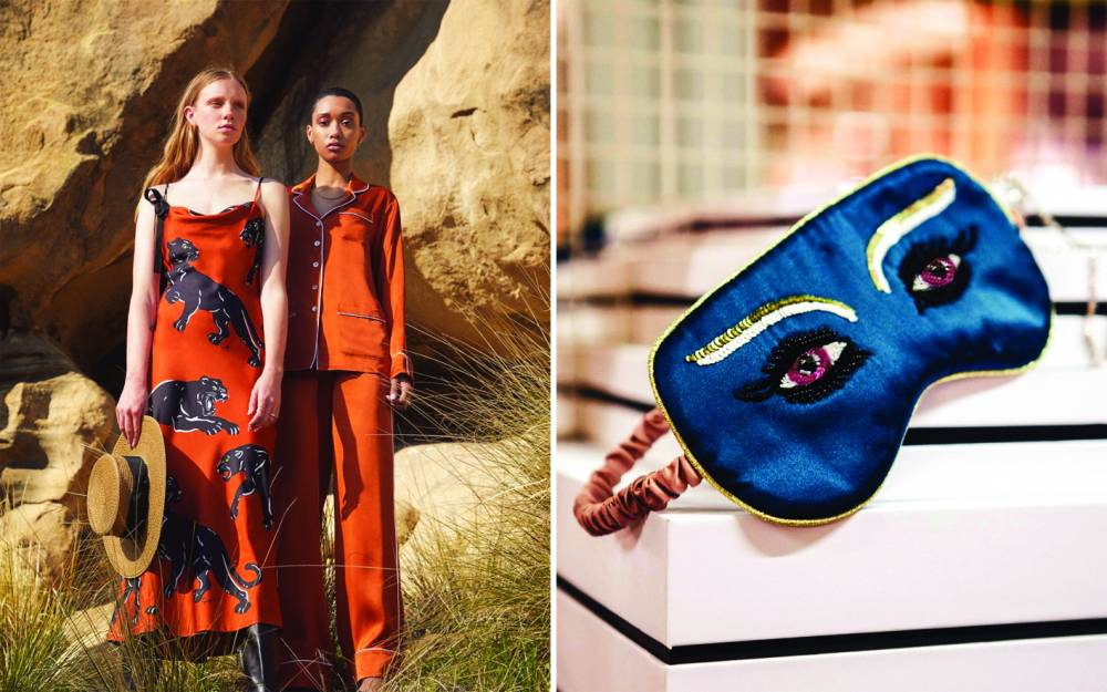 Đầm ngủ, pyjama lụa và mặt nạ ngủ cá tính của thương hiệu Olivia von Halle - Ảnh: Tatler
