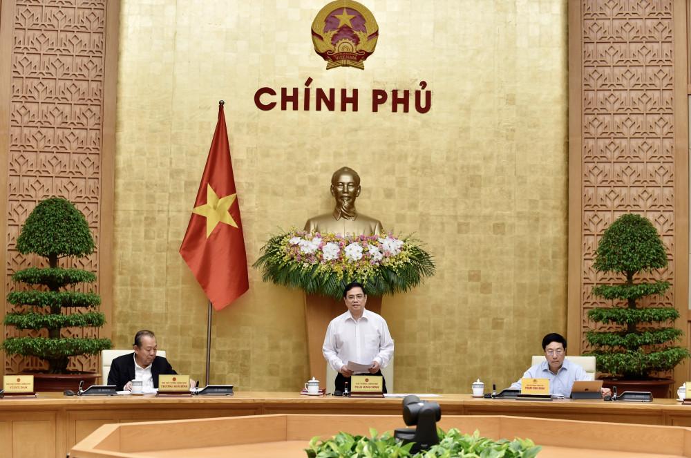 Thủ tướng Phạm Minh Chính chủ trì phiên họp Chính phủ ngày 15/4. Ảnh: VGP/Nhật Bắc