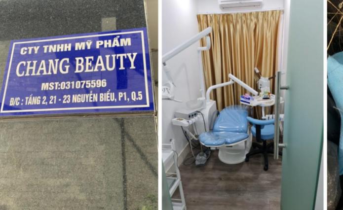 """Bên dưới chung cư là biển hiệu """"Công ty TNHH Mỹ phẩm Chang Beauty"""", tại tầng 2 chung cư là cơ sở dịch vụ thẩm mỹ nhưng có chứng cứ phẫu thuật thẩm mỹ trái phép."""