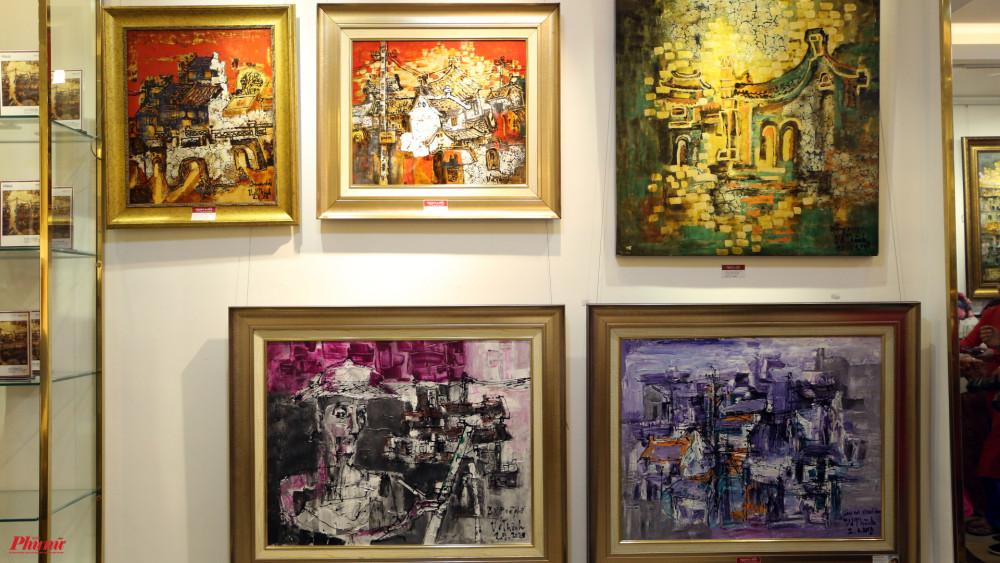 Một số bức tranh trong triển lãm Ký ức hương quê.