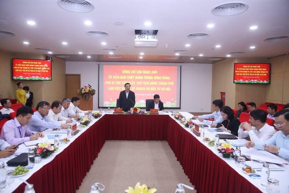 Ông Chu Ngọc Anh làm việc với Sở KH&ĐT Hà Nội.