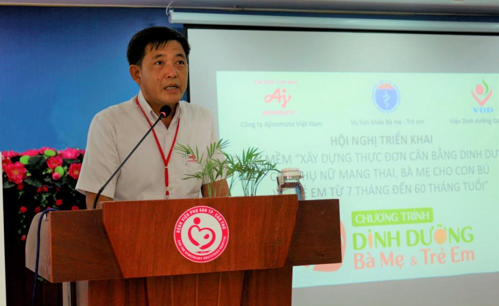 Ông Hà Ngọc Phước - Trưởng chi nhánh kinh doanh Khu vực Mê Kông - Công ty Ajinomoto Việt Nam - chia sẻ về quá trình hoàn thiện thực đơn phần mềm. Ảnh: Ajinomoto