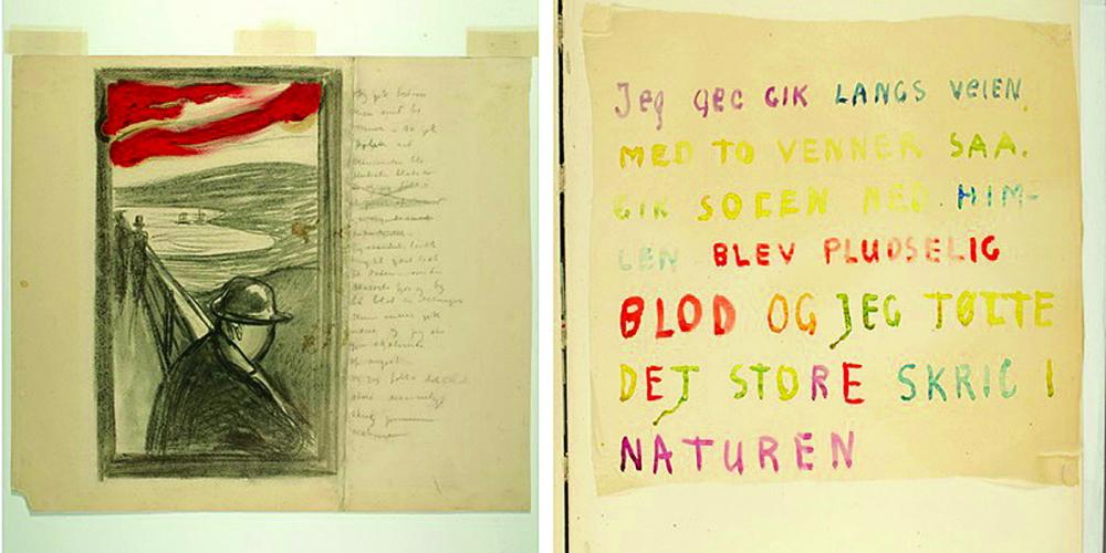 """Edvard Munch phác thảo bức Tuyệt vọng bằng than và màu dầu vào năm 1892. Chính Munch đã viết rằng ý tưởng cho bức Tuyệt vọng và dường như là cả Tiếng thét đến khi """"Tôi đang đi bộ trên đường với hai người bạn""""."""