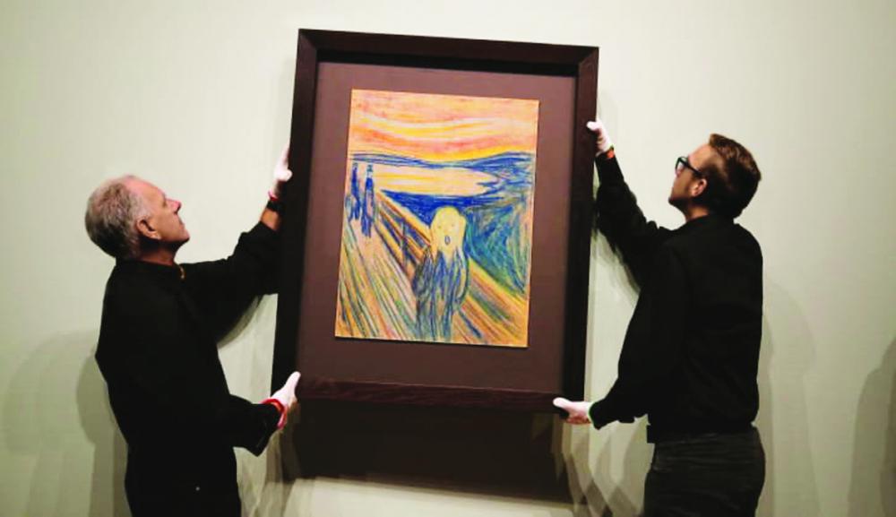 Một phiên bản của bức tranh Tiếng thét  được treo tại Bảo tàng Van Gogh ở Amsterdam, Hà Lan vào năm 2015