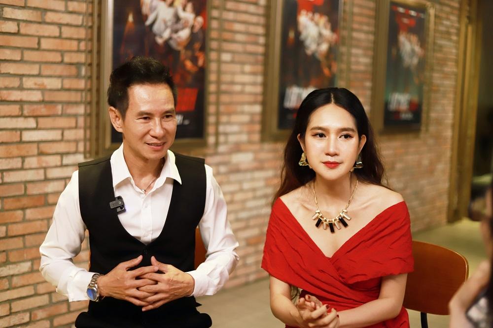 Vợ chồng đạo diễn Lý Hải - Minh Hà hào hứng chia sẻ về quá trình tìm kiếm ý tưởng mới cho kịch bản và hoạt động quảng bá phim Lật mặt 48H. Ảnh: THADAN 3DX GLOBAL