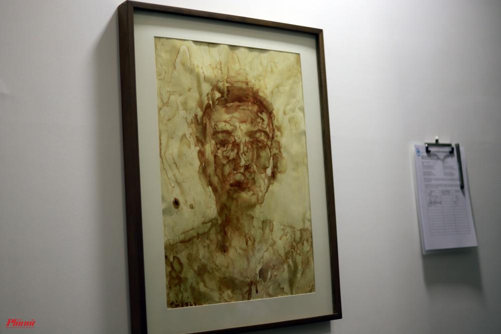 Bức tranh Wowy tự hoạ bằng máu của chính mình. Bức tranh được đấu giá gây quỹ
