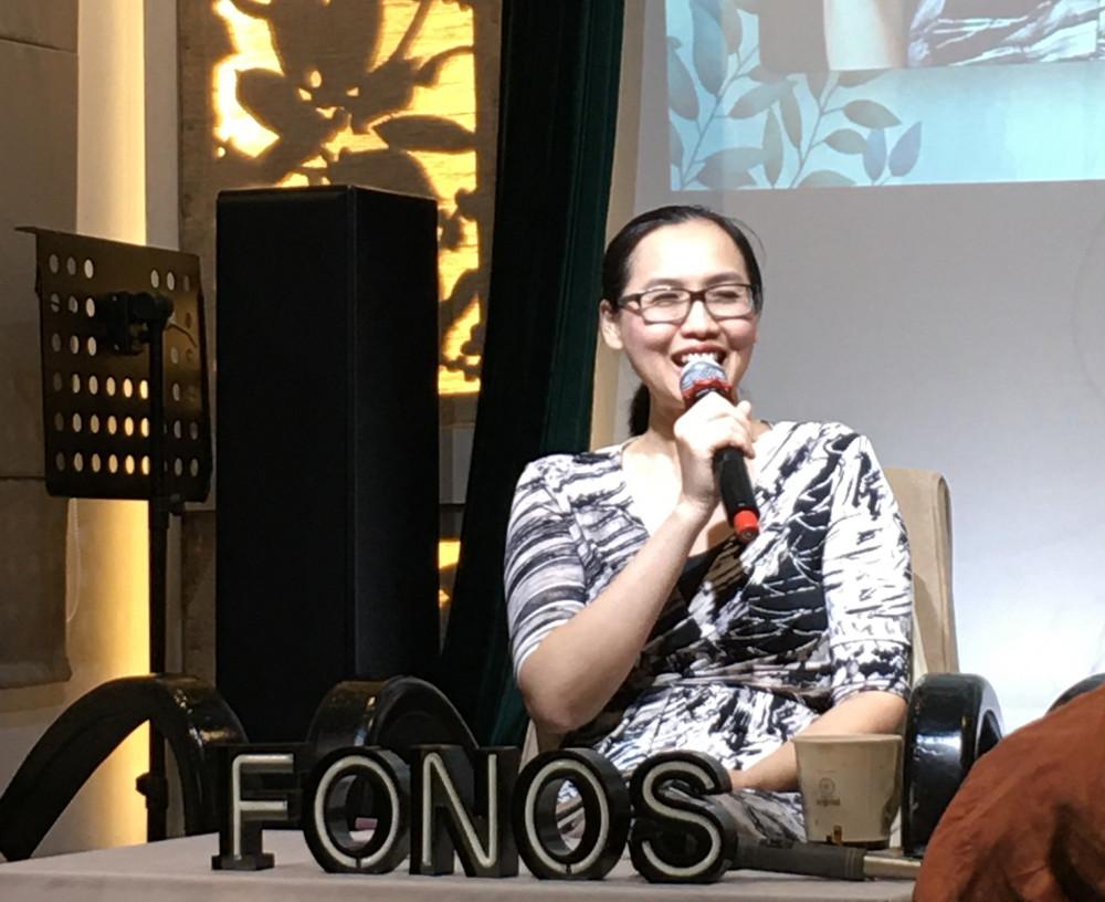 Tác giả Đặng Nguyễn Đông Vy chia sẻ tại buổi ra mắt phiên bản sách nói