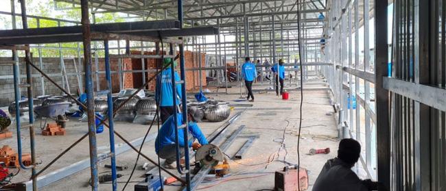 Kiên Giang đang gấp rút xây dựng bệnh viện dã chiến - Ảnh: VOV