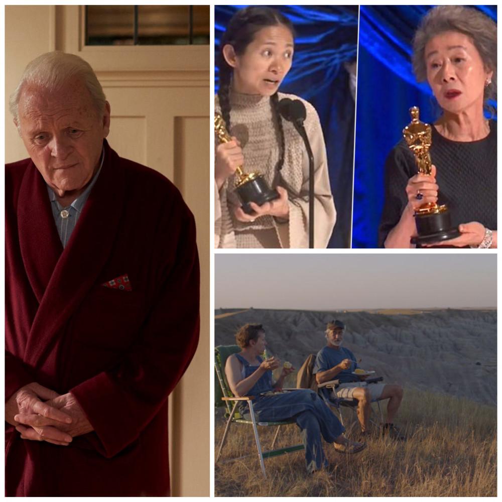 (Từ trên xuống dưới, từ trái sang phải): Chloe Zhao, Youn Yuh Jung đem lại niềm tự hào châu á và tác phẩm Nomadland, The Father phản ánh hiện thực xã hội nhiều âu lo của nước Mỹ