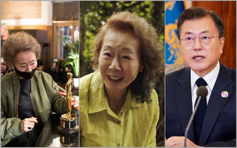 Tổng thống Moon Jae-in ca ngợi chiến thắng của bà Youn Yuh Jung.