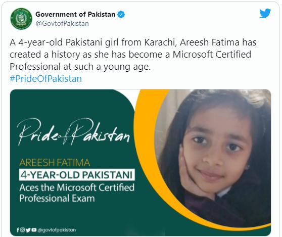 Chính phủ Pakistan thông báo về thành tích đáng tự hào của cô bé Arish Fatima