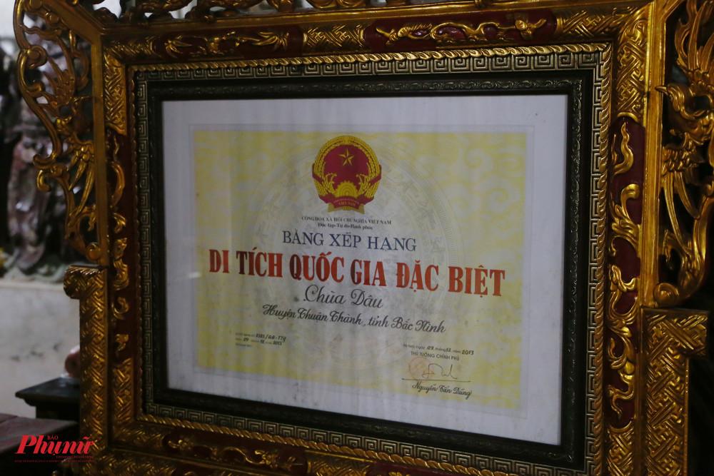 Chùa được công nhận là di tích quốc gia đặc biệt năm 2013.Trước đó khá lâu vào năm 1962, chùa đã được nhà nước xếp hạng di tích quốc gia.