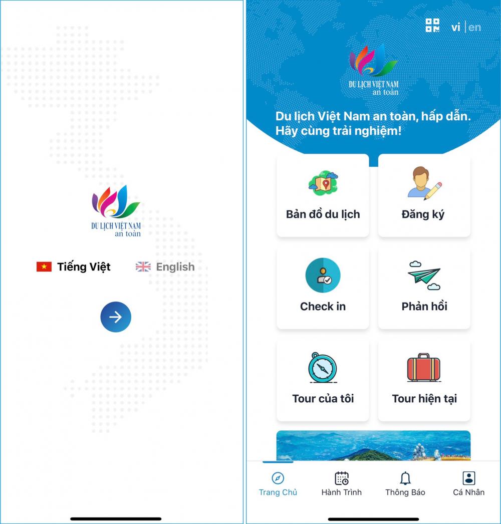 Giao diện Du lịch Việt Nam an toàn.