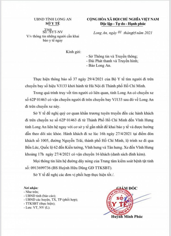 Thông báo của Sở Y tế tỉnh Long An về việc tìm kiếm những người liên quan đến BN2910.