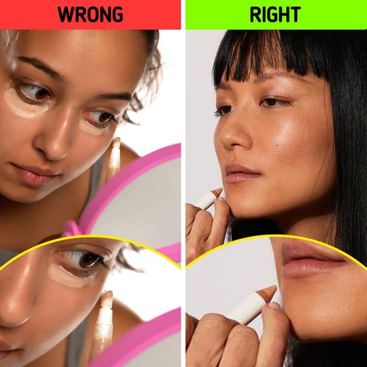 Không lạm dụng kem che khuyết điểm:Nhiều người vẫn thường dùng kem che khuyết điểm dưới mắt để che đi quầng thâm hay khuyết điểm. Tuy nhiên, sử dụng kem che khuyết điểm dưới mắt để che đi mọi khuyết điểm trên da. Đó là bởi vì, thông thường, sản phẩm này nhẹ hơn và thay vì che đi chi tiết bạn đang cố ngụy trang, điều này giúp bạn làm nổi bật nó. Vì vậy, tốt hơn hết bạn nên sử dụng kem che khuyết điểm được tạo ra đặc biệt để che đi những khuyết điểm trên khuôn mặt như nốt mụn, mụn hoặc mẩn đỏ. Đừng quên đảm bảo rằng nó phù hợp với màu da của bạn giống như cô ấy đã giải thích trước đó với kem nền. Kem che khuyết điểm nên được thoa ngay sau khi đánh kem nền và có thể tán đều bằng ngón tay.
