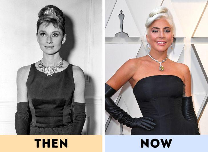 """Audrey Hepburn - chiếc váy đen nhỏ trễ vai huyền thoại. nổi tiếng qua những bộ phim như Breakfast At Tiffany's, Funny Face. Mắt kính to bản, găng tay lụa và """"chiếc váy đen bé nhỏ"""" (Little Black Dress) – những món đồ từng gắn liền với hình ảnh của nữ diễn viên vẫn được các tín đồ thời trang hiện đại yêu thích."""