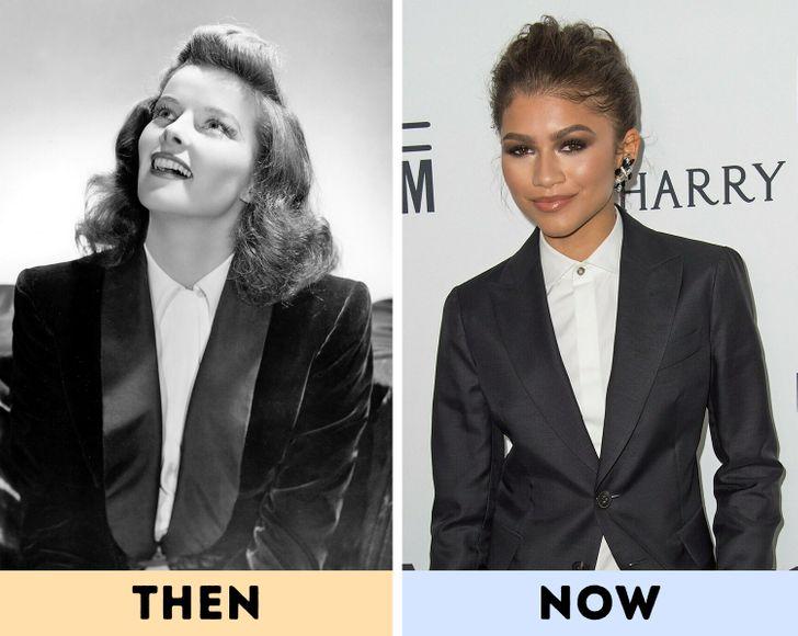 """Katharine Hepburn - phong cách menswear. Những người phụ nữ nổi tiếng hiện đại thường mặc trang phục """"nam giới"""" trên thảm đỏ, nhưng kiểu lựa chọn thời trang này khá phổ biến, thậm chí còn mạo hiểm vào nửa đầu thế kỷ 20. Hồi đó mọi người được cho là ăn mặc """"theo giới tính của họ"""" nhưng Katharine Hepburn đã phá vỡ những quy tắc đó. Nữ diễn viên thách thức các chuẩn mực giới tính thời trang và tự hào mặc quần, áo sơ mi và tuxedo, là một ví dụ đầy cảm hứng về việc thể hiện bản thân thông qua thời trang."""