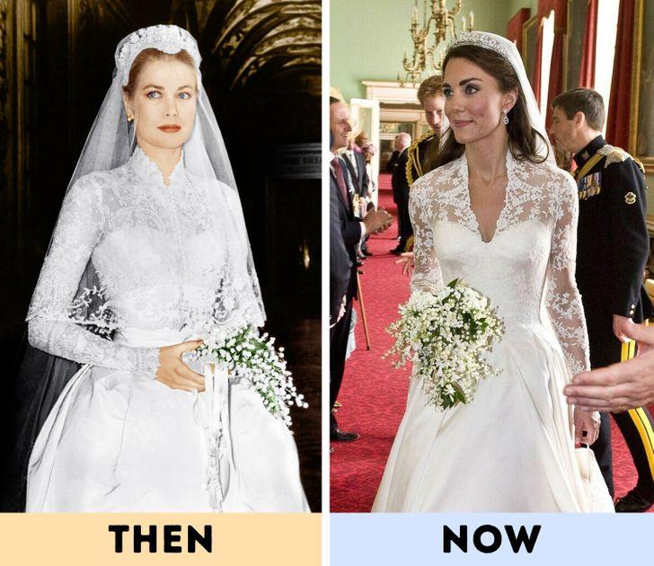 Grace Kelly - chiếc váy cưới bằng ren huyền thoại: Chiếc váy mà Grace Kelly mặc trong đám cưới của cô với Hoàng tử Rainier III của Monaco vào năm 1956 đã trở thành một trong những chiếc váy cưới được ghi nhớ và truyền cảm hứng nhất thế giới. Được làm từ phần vạt áo ren vừa vặn và phần chân váy xòe, nó đã trở thành chiếc váy cưới trong mơ của nhiều cô dâu kể từ đó. Nhiều người cảm thấy rằng chiếc váy của Kate Middleton cũng tạo ra sự rung cảm cho chiếc váy của Grace Kelly.