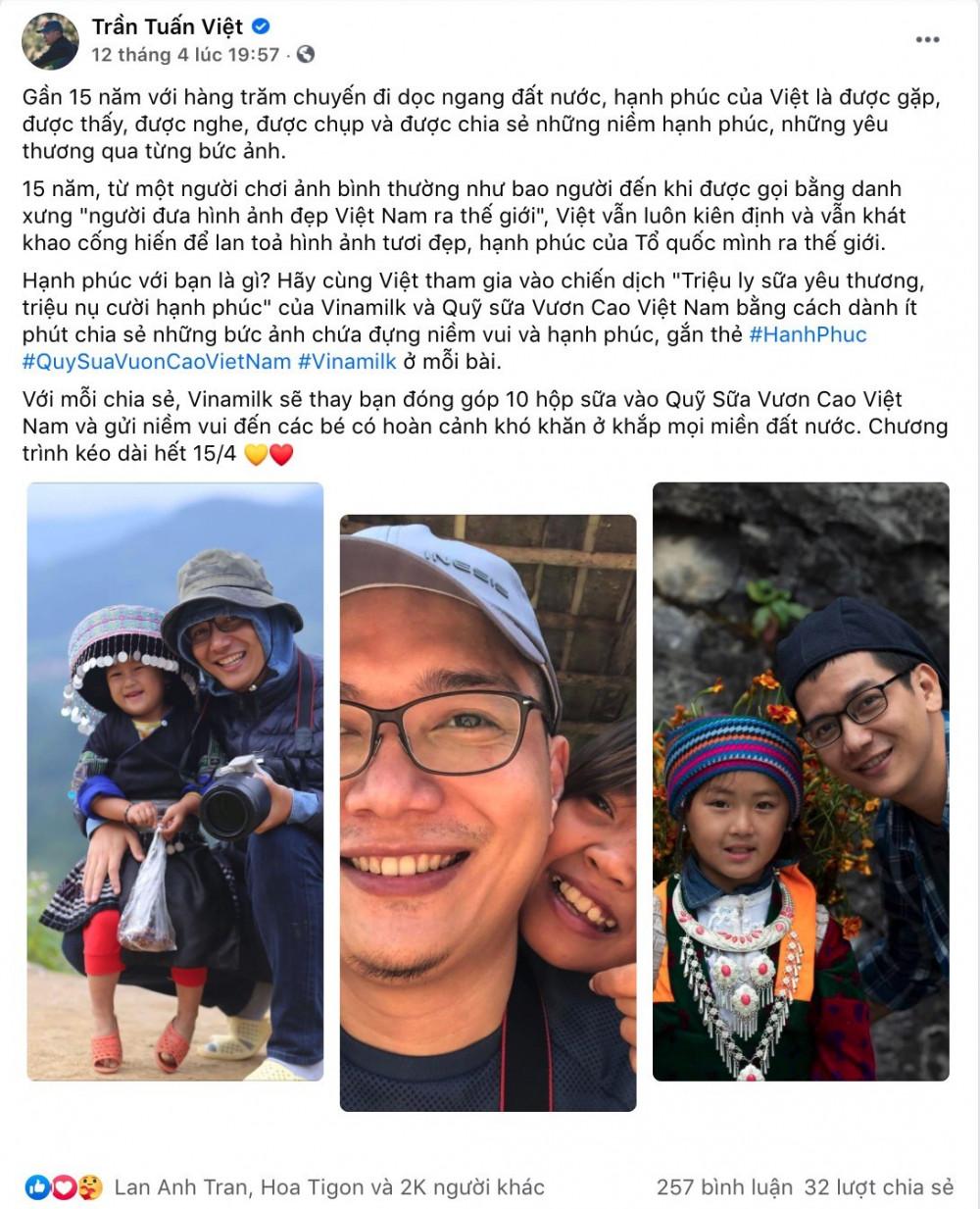 Bài viết hưởng ứng chiến dịch của nhiếp ảnh gia Trần Tuấn Việt đã nhận hơn 2.000 lượt thích và chia sẻ. Ảnh: Vinamilk