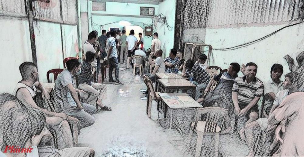Lực lượng chức năng bất ngờ ập vào quán quán cà phê Nam Phương  nơi 2 đối tượng đang tổ chức đánh bạc