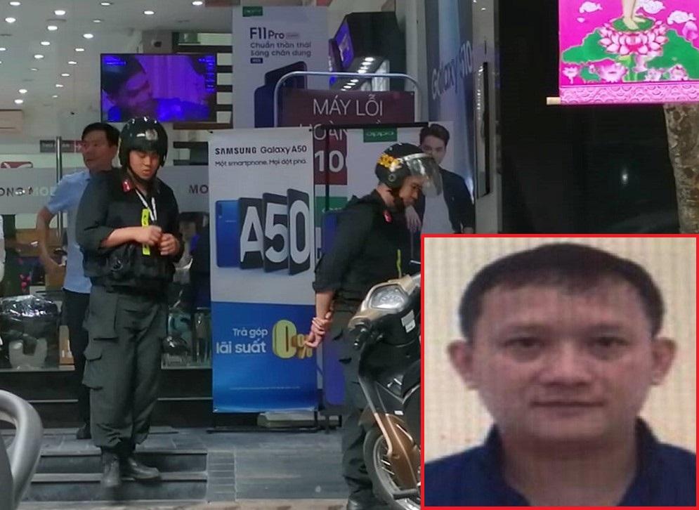 Bùi Quang Huy (ảnh nhỏ) và chuỗi cửa hàng của Công ty Nhật Cường bị khám xét