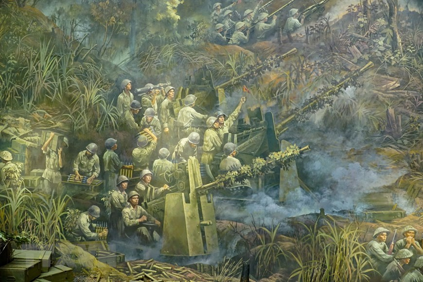 Hình ảnh quân đội Pháp được tái hiện trong tranh.