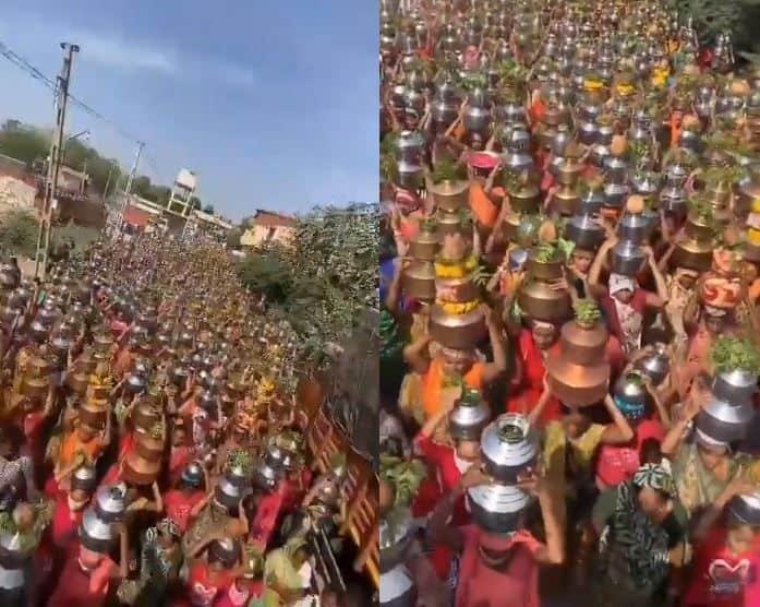 Đoạn video lan truyền cho thấy những người phụ nữ đội chậu nước trên đầu đi về phía một ngôi đền đã vi phạm quy định giãn cách phòng dịch - Ảnh: Indian Express