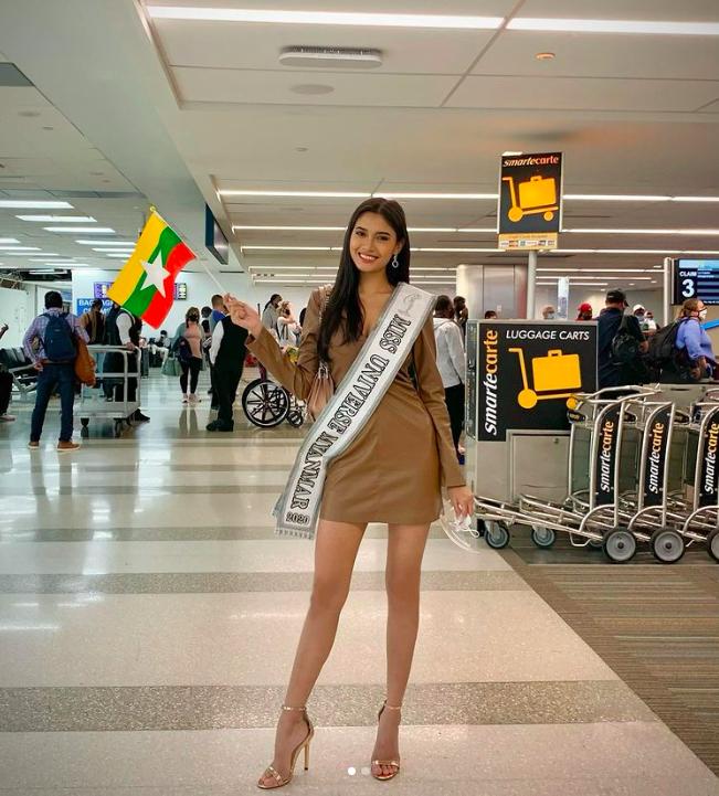 Hình ảnh của Thuzar Wint Lwin khi có mặt tại sân bay ở Mỹ