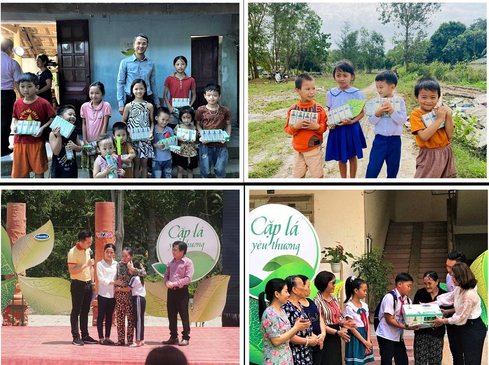 """Các bạn nhỏ tại Nghệ An, Quảng Trị, Vĩnh Long và Đà Nẵng nhận hỗ trợ từ Vinamilk và chương trình """"Cặp lá yêu thương"""" trong những năm trước. Ảnh: Vinamilk"""
