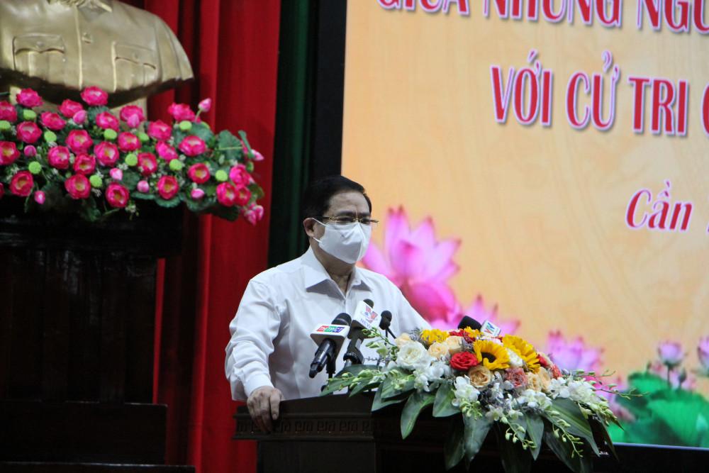 Thủ tướng Phạm Minh Chính phát biểu tại buổi tiếp xúc cử tri TP.Cần Thơ