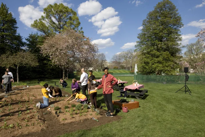 Đệ nhất phu nhân Michelle Obama trồng rau thơm trong Vườn bếp của Nhà Trắng với các học sinh tiểu học địa phương tháng 4/2009 - Ảnh: Corbis/Getty Images