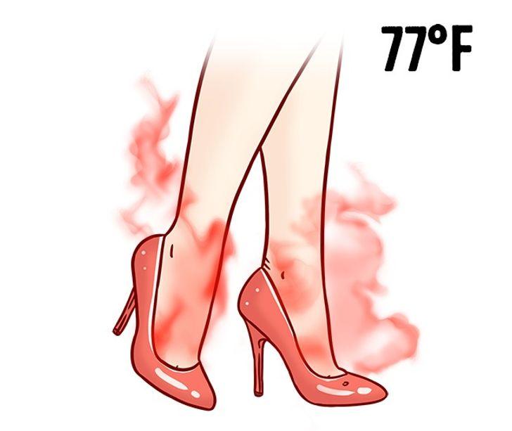 3. Giày da bóng: Trong khoảng thời gian nóng nhất trong năm, bạn nên hạn chế đi giày bằng da bóng. Những đôi giày như vậy không có khả năng lưu thông không khí và hút ẩm. Hơn nữa, chúng còn dễ bị hư hỏng cơ học và thay đổi nhiệt độ (chúng có xu hướng bị nứt ở điều kiện nhiệt độ trên 25 độ C).